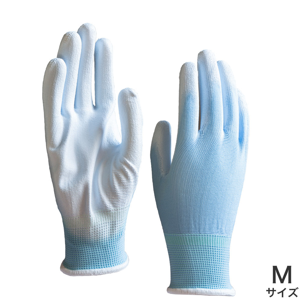 ウレタン背抜き手袋 青