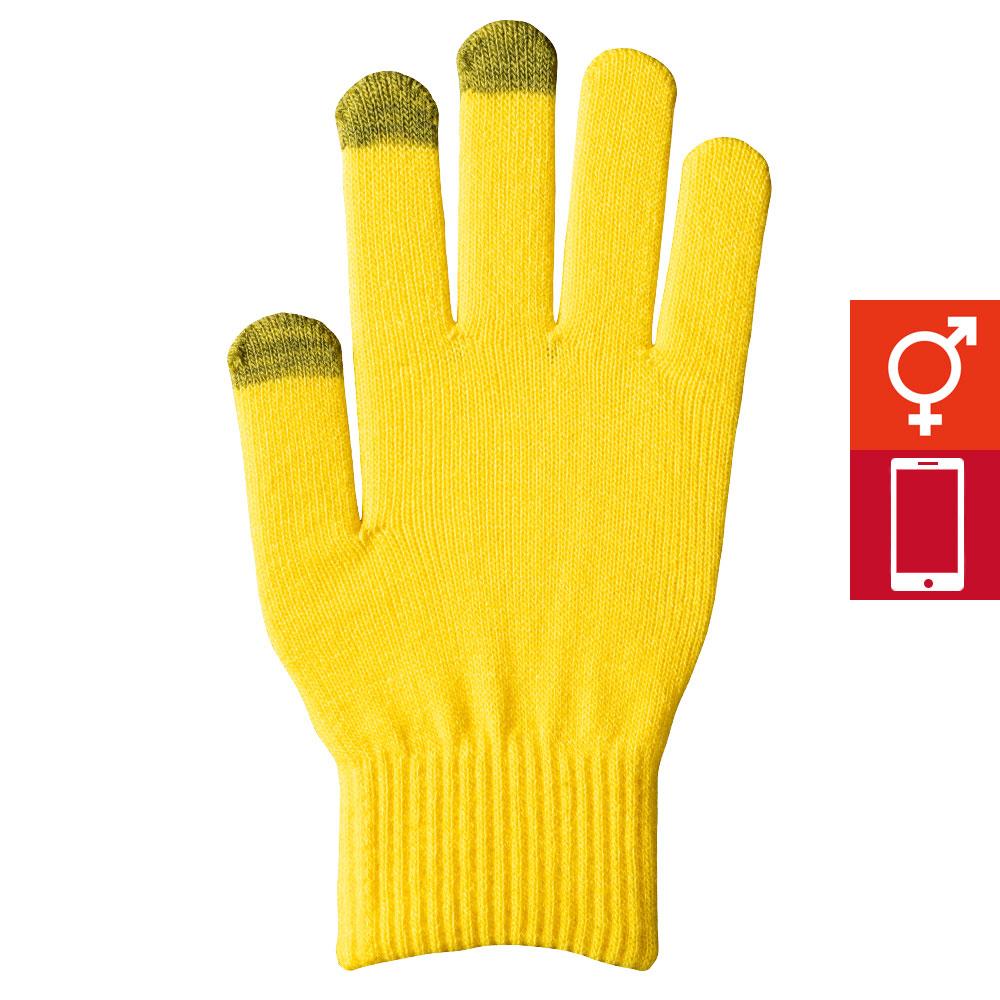 スマートカラー手袋 レモンイエロー(男女兼用)