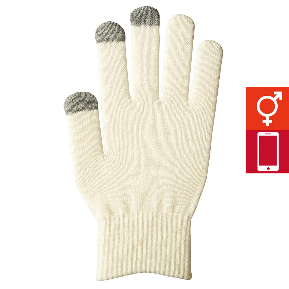 【10月上旬入荷予定】スマートカラー手袋 オフホワイト(男女兼用)